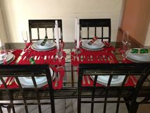 Xmas dinner setting. Moeti 2012 Xmas Royalty Free Stock Photos