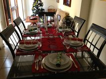 Xmas dinner setting stock photography
