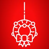 Xmas door wreath icon, outline style stock illustration