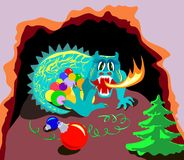Xmas dragon in cave Royalty Free Stock Photography