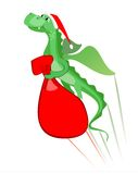 Xmas dragon flying with a gift bag. Vector illustration of flying dragon with a bag of gifts stock illustration