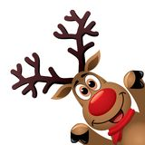 Xmas drawing of funny red nosed reindeer. vector  Stock Images