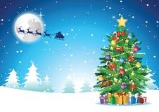 Xmas drzewa stojak w śnieżnym niedalekim prezencie który wysyłał Santa Claus t obrazy royalty free