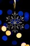 Xmas drzewny płatek śniegu z bokeh światłami 3 Zdjęcie Royalty Free