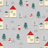 Xmas drzewo, Święty Mikołaj, domy i bałwanu bezszwowy wzór na popielatym tle, ilustracja wektor