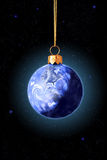 Xmas Earth. Earth is as xmas sphere on space stars background. You can see North America Stock Photos