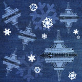 Xmas Eiffel Tower on Jean fabric Royalty Free Stock Image