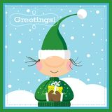 Xmas Elf & Gift Card. A funny card illustration of a cute christmas elf carrying a special gift wrapped in a yellow paper and a white ribbon Stock Photo