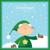 Xmas Elf Greeting Card Stock Photography