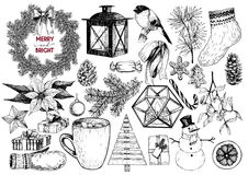 Xmas engraved objects. Fir branch, lantern, poinsettia, mistletoe, cookie, cone, snowman, cup, candy, glove, gift, ball. Vector set of Christmas hand drawn Stock Image