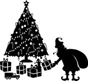Xmas_eve. Silhouette graphic depicting Santa leaving Christmas gifts Stock Photography
