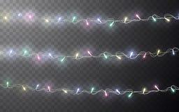 Xmas-färg ledde girlanden, festliga garneringar Glödande garnering för effekt för julljus genomskinlig på mörk bakgrund vektor stock illustrationer