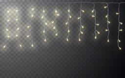 Xmas-färggirland, festliga garneringar Glödande garnering för effekt för julljus genomskinlig på mörk bakgrund vektor royaltyfri illustrationer