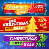 Xmas-försäljningsbaner Annonsera jul som marknadsför avtal, ställde försäljningen för vinterferie och det speciala banret in för  royaltyfri illustrationer