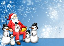 Xmas Fairy-tale with Santa Claus and Snowman. Blue Xmas fairy-tale with Santa Claus Snowman and snowflakes Stock Images