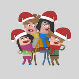 Xmas family posing photography. 3D Royalty Free Stock Images