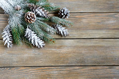 Xmas fir branch with cones on boards Stock Image