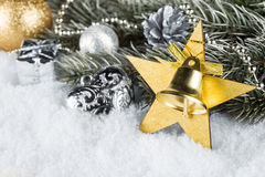 Xmas fir branch gold silver Stock Images