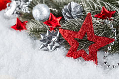 Xmas fir branch red silver Royalty Free Stock Photo