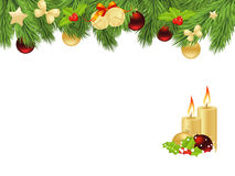 Xmas fir frame. Holiday background with fir twigs and christmas balls. Vector illustration Stock Photos