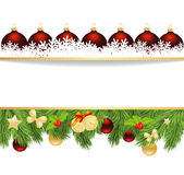 Xmas fir frame. Holiday background with fir twigs and paper christmas balls. Vector illustration Stock Photos