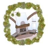 Xmas fireplace pine1 vector illustration