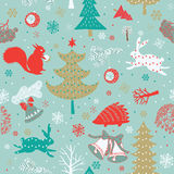 Xmas forest.seamless pattern Stock Photo