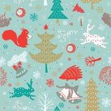 Xmas Forest.seamless Pattern Stock Photo