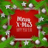 Xmas frame with green branches Royalty Free Stock Photos