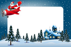 Xmas frame santa Claus flying airplane xmas night Stock Image