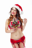 Xmas. Funny Snow-Maiden in Santa Claus Costume Stock Images