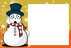 Xmas funny snow man cartoon expression picture frame background. In vector format Stock Photo