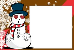 Xmas inlove snow man cartoon expression picture frame background Royalty Free Stock Images