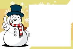 Xmas little snow man cartoon expression picture frame background. Xmas funny snow man cartoon expression picture frame background in vector format Royalty Free Stock Image