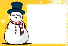 Xmas snow man cartoon expression picture frame background. Xmas funny snow man cartoon expression picture frame background in vector format Royalty Free Stock Image