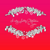 Xmas garland and handwritten words A Very Merry Christmas. Hand drawn vector Christmas greeting card with garland, toys, stars and handwritten words A Very Merry Royalty Free Stock Image