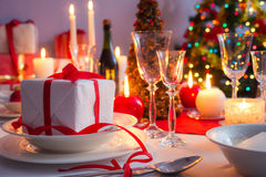 Xmas gift as a main course on the Christmas table. In home royalty free stock photo
