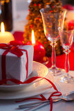 Xmas gift as a main course on the Christmas table Stock Image