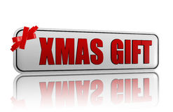 Xmas gift banner with ribbon Royalty Free Stock Photos