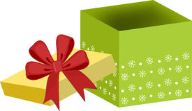 Xmas gift box. With red bow Royalty Free Stock Photography