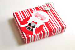 Xmas gift box. A xmas gift box with santa clause on the box Stock Image