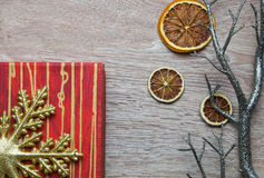 Xmas gift box on wood background Royalty Free Stock Images