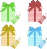 Xmas gift boxes with tags Royalty Free Stock Photos