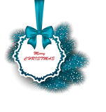 Xmas Gift Card with Ribbon and Fir Branches Royalty Free Stock Photo