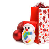 Xmas gift with decorations Stock Photography