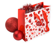 Xmas gift with decorations fully isolated. Stock Images