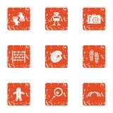 Xmas gift icons set, grunge style. Xmas gift icons set. Grunge set of 9 xmas gift vector icons for web isolated on white background Royalty Free Stock Photos