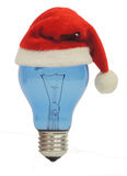 Xmas Gift Ideas. A bulb has a Santa hat referring Xmas gift ideas Stock Image