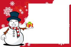 Xmas gift snow man cartoon expression picture frame background. Xmas funny snow man cartoon expression picture frame background in vector format Royalty Free Stock Images