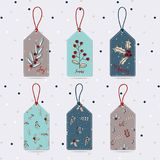 Xmas gift tags-leave label for holiday presents. Set of Merry Christmas gift tags with leave, seamless pattern leave, Christmas branch tree holly jolly vector illustration